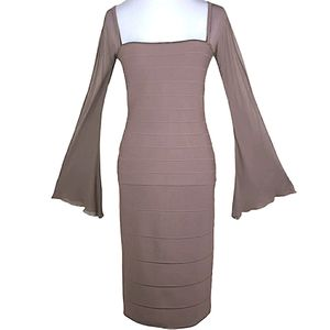 RARE Hervé Léger Bandage Bell Sleeves Formal Dress